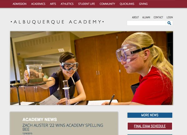 Albuquerque Academy Private School Website Design