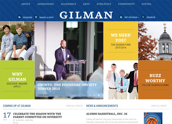 Gilman School Private School Website Design