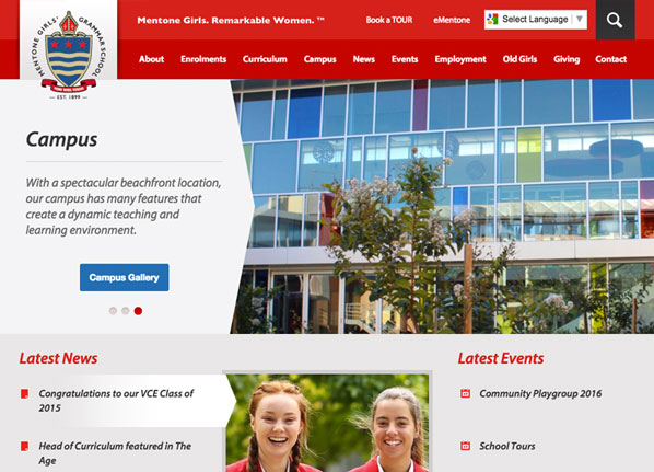 Mentone Girls Grammar School Website Design