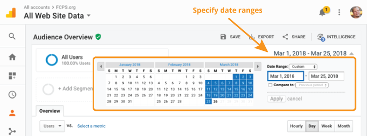 adjust google analytic date range