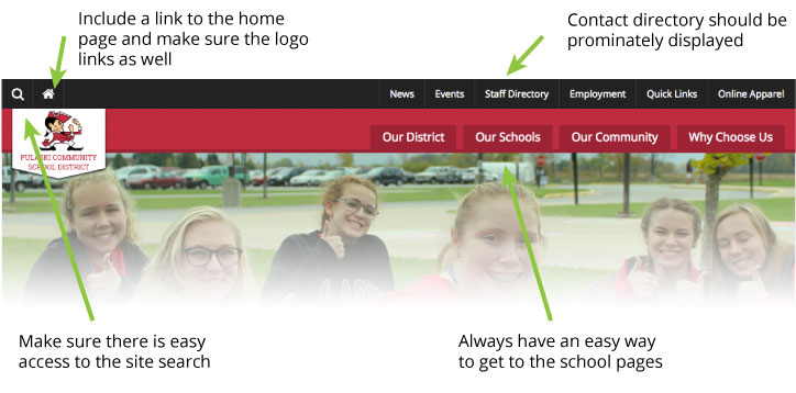 school website design navigation