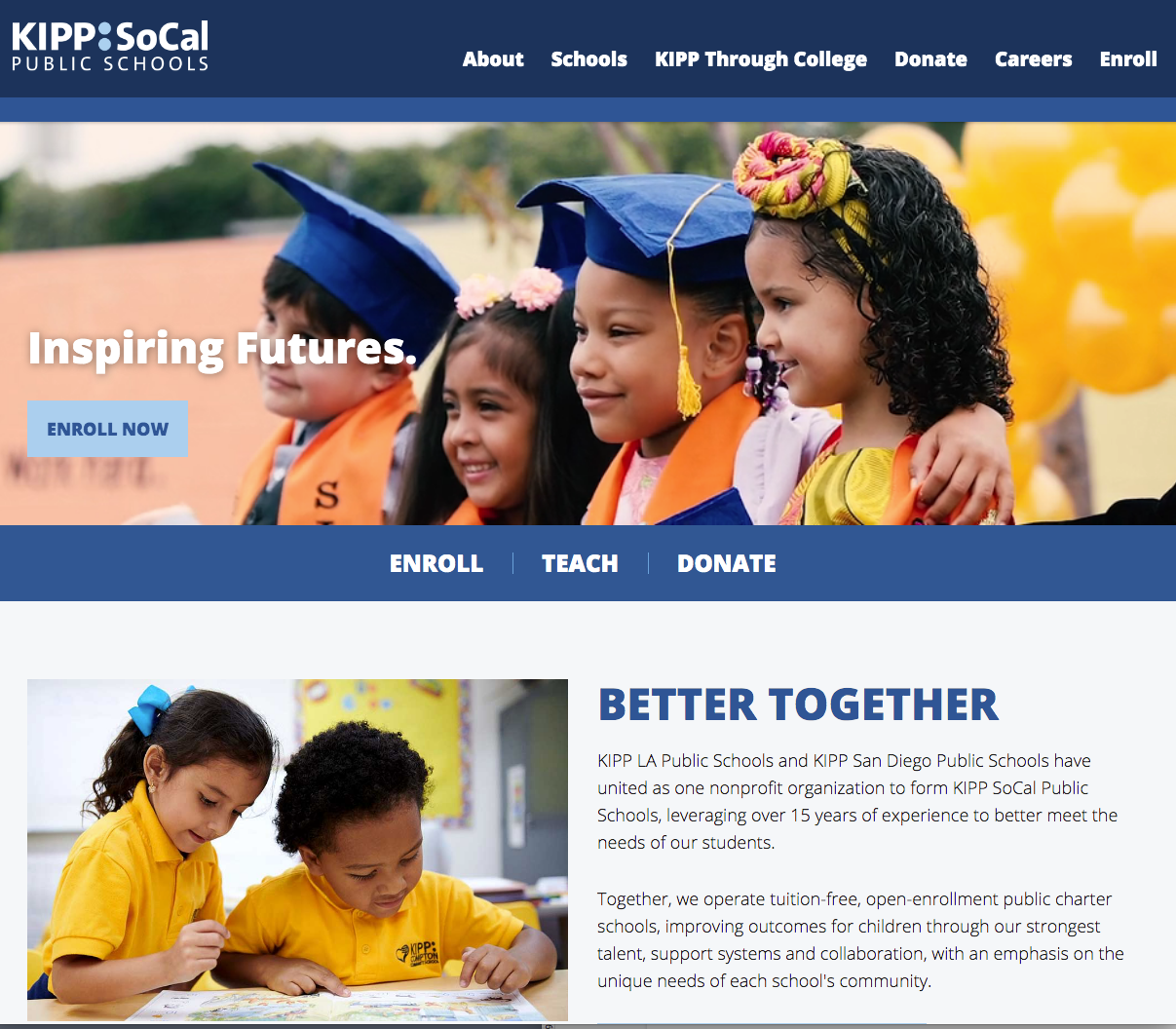 KIPP SoCal school website by Campus Suite
