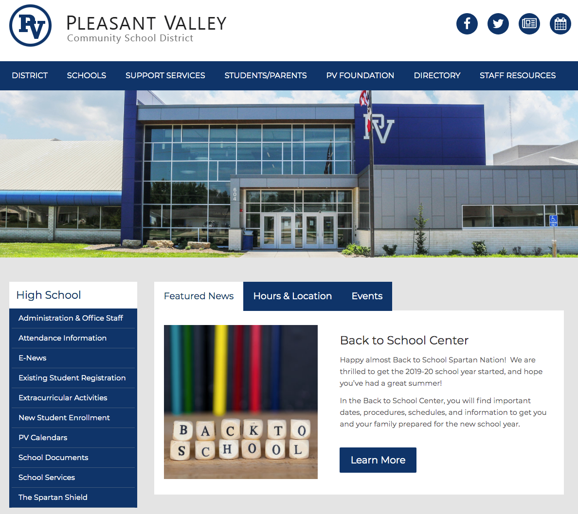 Pleasant Valley Community School District website by Campus Suite