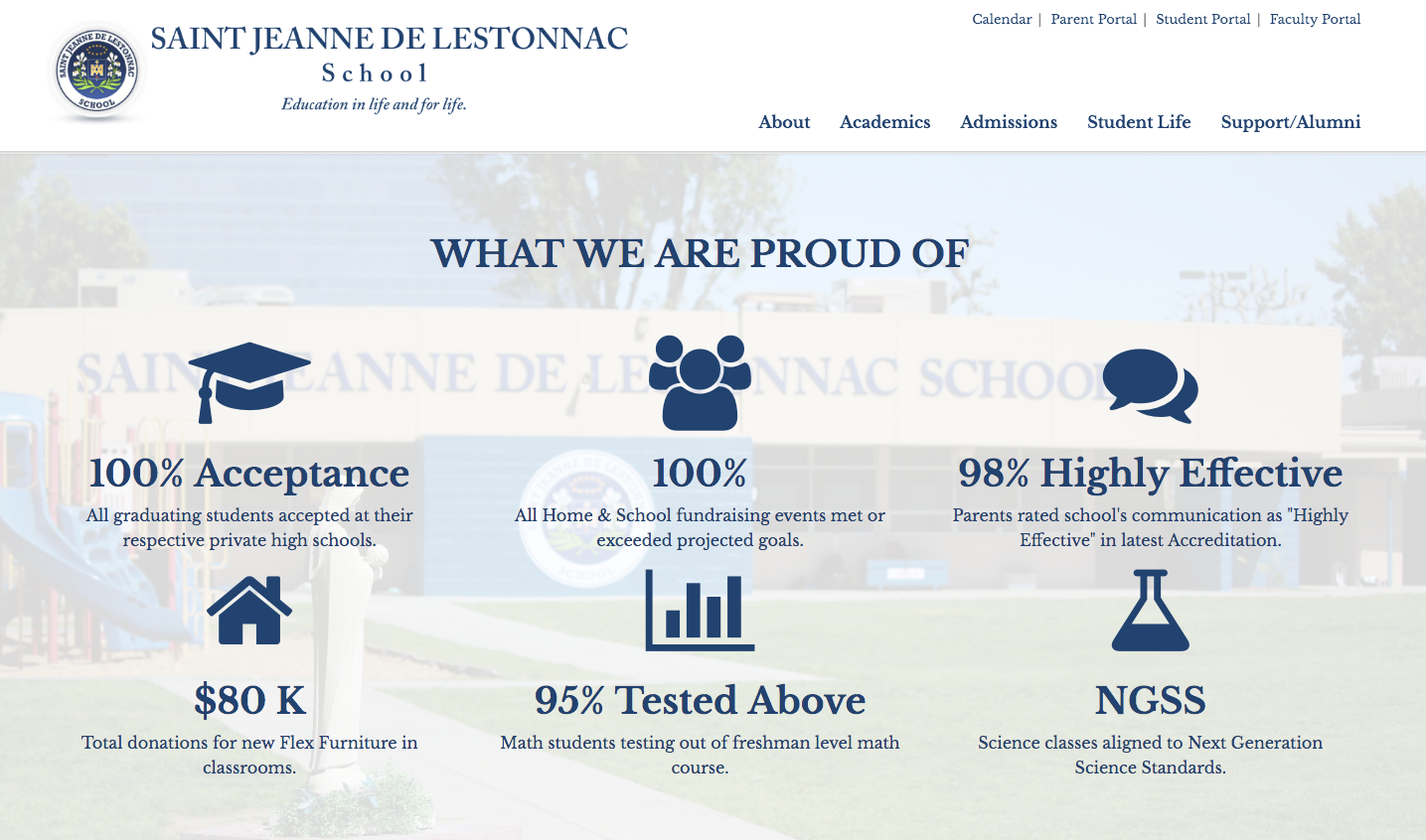 St. Jeanne De Lestonnac school website by Campus Suite